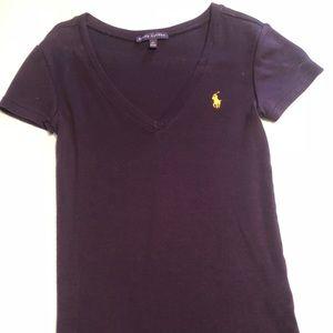 Ralph Lauren short sleeve v neck shirt navy blue